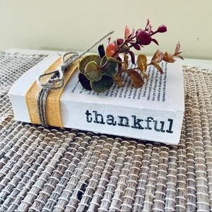 Farmhouse Decorative Hand Stamped Book Thankful